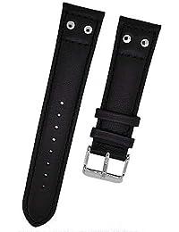 Reloj De Pulsera Swiss Military piel negro tono en 22mm Nuevo 8670