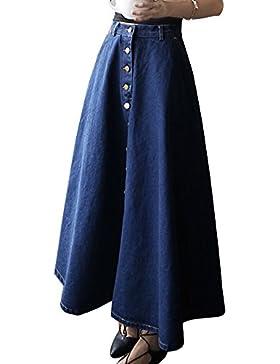 Mujeres A-Linear Largo Falda Vaquera Color Sólido Denim Jeans Falda