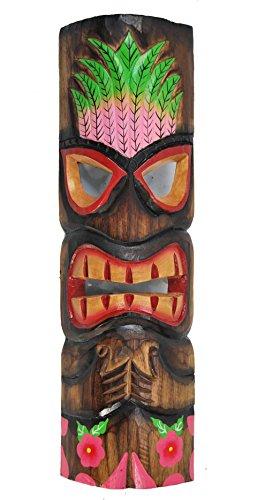 Tiki Maske aus Holz zum Aufhängen Hawaii Kauai Style Wohnraumdeko Wandmaske