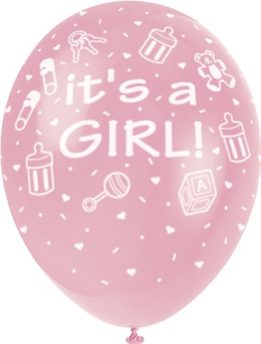 Unique Party - Globos Perlados de Látex para Baby Shower - 30 cm -It's a Girl - Rosa - Paquete de 5 (80243)