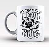 "Kaffeebecher, Aufschrift ""All You Need Love and A Mops"", Hundegeschirr, Hundegeschirr, Hundegeschirr, Hundegeschirr, Bettleine, Halsband, Futter, 325 ml, Keramik, mit großem Griff"