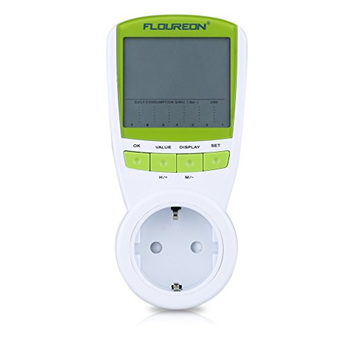 Floureon Leistungsmessgerät Energiekostenmessgerät Energiemessgerät Power-Monitor mit LCD -Display mit Zeit/Energie/Kosten-Anzeige Überlastung-Anzeige Energiemessgerät Test