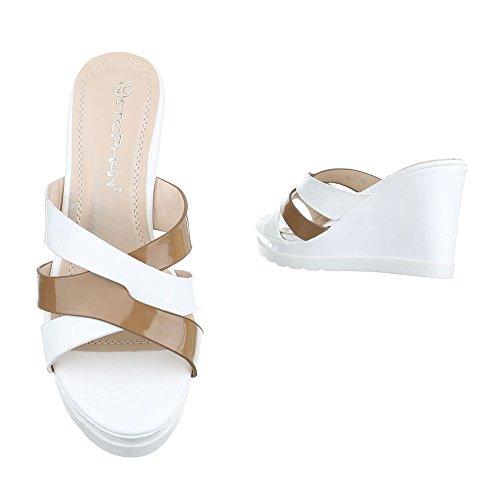 Pantoletten Damen Schuhe Jazz   Modern Keilabsatz  Wedge Keilabsatz  Ital-Design Sandalen   Sandaletten 3521b731d9