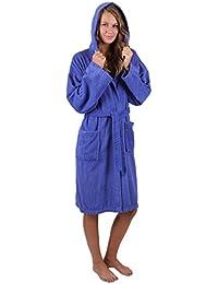 BETZ Peignoir de Bain Capuche Nizza en Tissu éponge 100% Coton Femme Homme Enfant Peignoir de Sport en Couleurs et Tailles diverses 128-164 et S-XXL (L - Bleu)