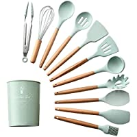Silicone Cooking Kitchen 11PCS Wooden Utensils Tool for Nonstick Cookware,Cooking Utensils Set with Bamboo Wood Handles for Nonstick Cookware,BPA Free, Non Toxic Turner Tongs Spatula Spoon Set