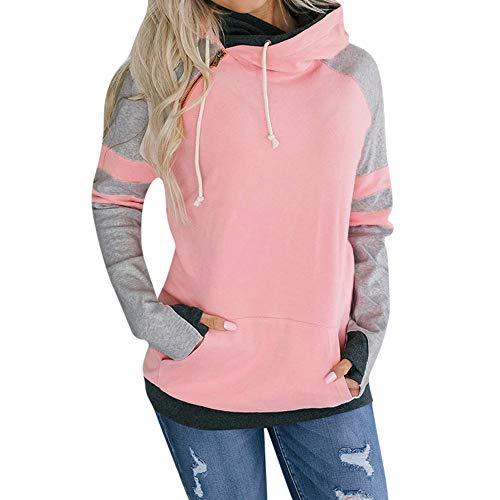 HUIHUI Damen Bekleidung Damen Pullover 2019 große größen 90s Kapuzenpullover Zipped Jacket Brazzo Mack (Rosa,S)