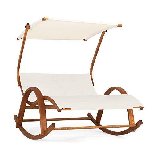 Ampel 24 Doppel-Schaukelstuhl Olinda, Relaxliege mit Armlehnen und Dach, Doppelliege mit Holzgestell und Stuhl Bespannung Creme weiß - Doppel-liege Stuhl