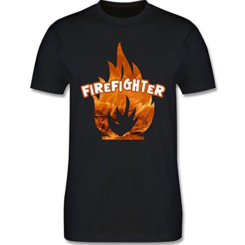 Feuerwehr - Feuer Flammen Firefighter - Herren Premium T-Shirt Schwarz