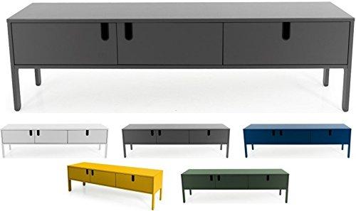 tenzo 8571-014 UNO Designer Buffet Bas 2 Portes, 1 tiroir, Gris, MDF Particules ép. 19 et 16 mm Panneau arrière laqué. Poignées en matière Plastique, 50 x 171 x 46 cm (HxLxP)