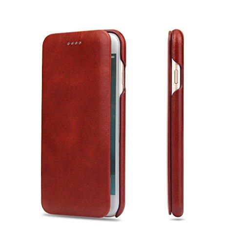 iPhone 7 Echtem Leder Hülle,Careynoce Luxus Handgefertigt Echtem Leder Flip Schutzhülle für Apple iPhone 7(4.7 Zoll) -- Braun M01