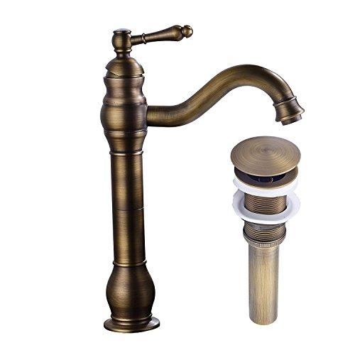 Pop-up-drain (MEIBATH Badezimmer Waschbecken Mischbatterien Antik Messing Arbeitsplatte Wasserhahn Vessel Tap + Waschbecken Pop up Drain (Kein Überlauf) Wasserhahn Badarmatur Waschtischarmaturen)