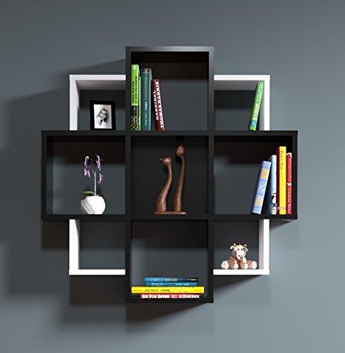 Homidea bloom mensola da muro - mensola parete - mensola libreria - scaffale pensile per studio/soggiorno in design moderno (nero/bianco)