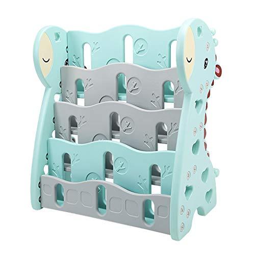 4 Tier Fun Bücherregal Anzeige Würfel Einheiten Leiter Stable Regale Einfache Kinderzimmer Kinder Spielzeug Schulbedarf Zusammenbauen Stationery (Color : Green, Size : Fawn) -