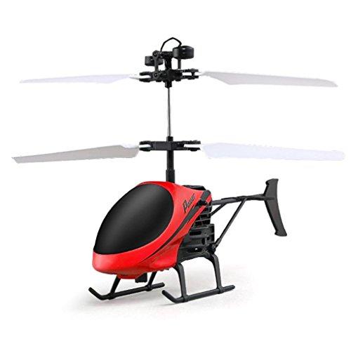 Induktion Flugzeug, Kinder Blinken Licht Spielzeug,RC Elektro Infrarot Sensor Weihnachten Hubschrauber,Puzzle Bildung Spielzeug, Geeignet für: Alter 8+ (rot, 17.5 x 3.5 X 11cm) (Holz-flugzeug-kits)