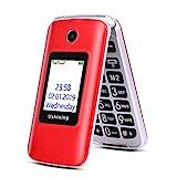 Ushining Téléphone Portable Débloqué, Téléphone Portable Basique à Clapet, GSM Double SIM 2G + 3G Téléphone avec Grandes Touches, 2.8' Ecran - Rouge