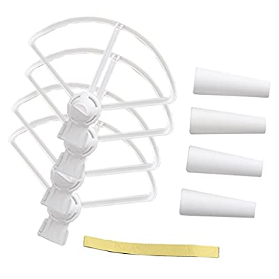 MagiDeal White Plastic 4 Pieces Airscrews Propeller Guard with 4 Pieces Landing Gear Undercarriage for DJI SPARK RC Aircraft