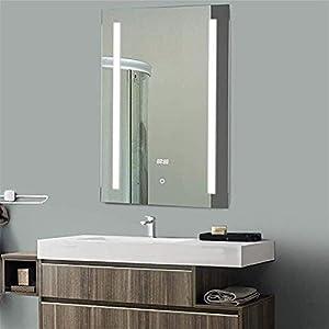 Gjrff LED-Badezimmer-Spiegel mit Beleuchtung Demister Noten-Schalter Digital Clock Temperaturanzeige Lichtspiegel 700 x 500 mm Wand befestigten