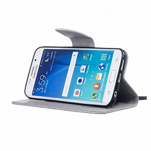 LEMORRY Samsung Galaxy S6 edge / G925F Custodia Pelle Cuoio Flip Portafoglio Borsa Sottile Fit Bumper Protettivo Magnetico Chiusura Standing Card Slot Morbido Silicone TPU Case Cover Custodia per Gala grigio