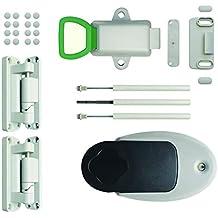 Tirador exterior horizontal con cerradura + manija interior de emergencia para puertas frigoríficas batientes + 2