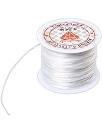 SODIAL(R) Blanc Elastique Extensible Cristal Ligne Bijoux Perles Bobine de Fil 120 Metres