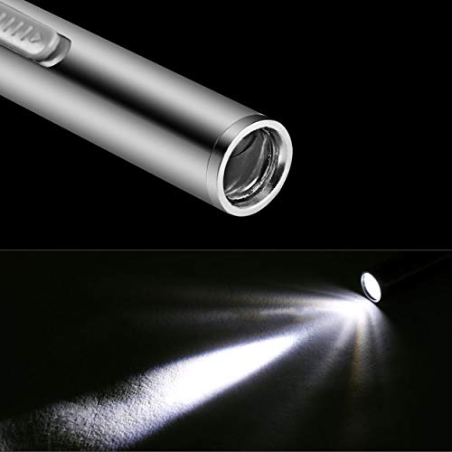 Lorenlli Lampe de Poche LED Rechargeable avec Un Clip en Acier Inoxydable