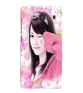 Fuson Flower Pattern Girl Back Case Cover for XIAOMI REDMI 2S - D3933