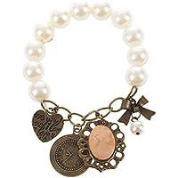 SODIAL (R) 2 PZ x Braccialetto Classico antico perla con ciondolo - perla