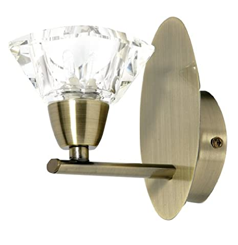 Alamas wall light in antique brass finish complete with K9 crystal glass shades