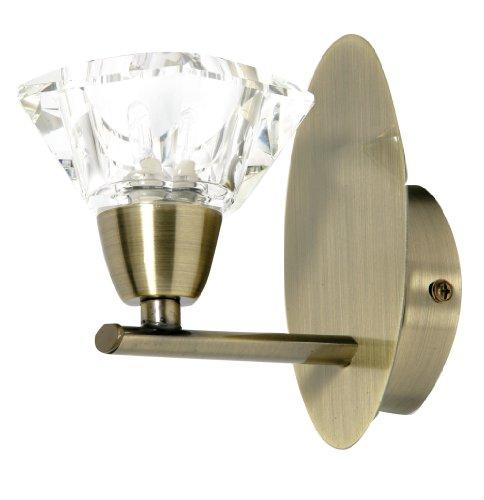 Alams - Applique da parete con finitura in ottone anticato, lampade in vetro cristallino K9