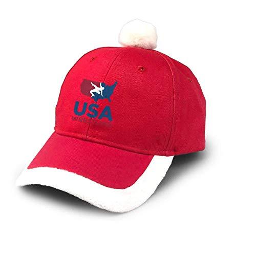 ghjkuyt412 Santa Baseball Cap,USA Wrestling Christmas Baseball Cap