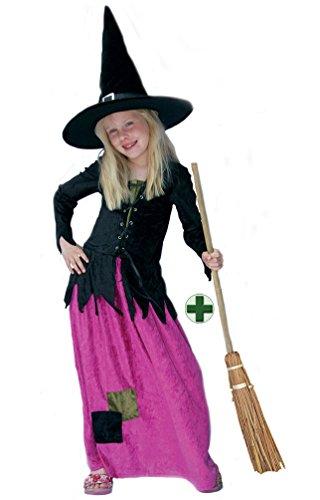 exen-kostüm Kinder Hexe für Mädchen Hexenkostüm Aschenhexe MIT Hexenbesen Halloween Hexenkleid 164 (Hexe-baby-kostüm)