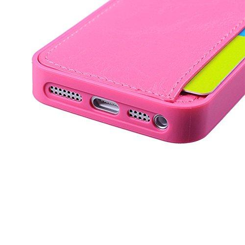 D9Q Soft PU Leder schwer Fall zurück decken schützende Haut Card Holder hülle für iPhone 5 5S !!Brown