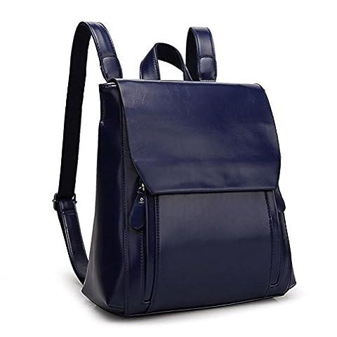 DcSpring Damen Rucksack PU Leder Umhängetasche Tasche Schultertasche Vintage für Outdoor Sports Schul Retro (Blau)