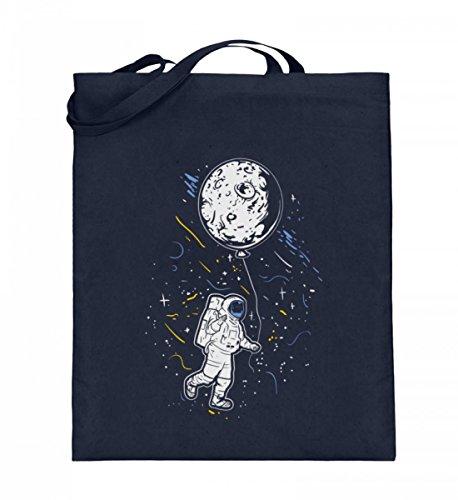 Hochwertiger Jutebeutel (mit langen Henkeln) - Astronaut Mit Ballon - Mond Weltraum Raumfahrer Galaxie Science Fiction Sci-Fi ()