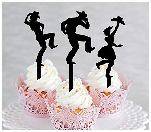 Topper, Jahrestag, Hochzeit, Geburtstag, Party, Cowboy und Cowgirl tanzende Landschaft, Western-Tanz-Silhouette, 10 Stück ()