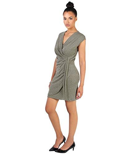 KRISP Damen Mini Wickelkleid mit Silberfäden Seitlich Geraffft Khaki