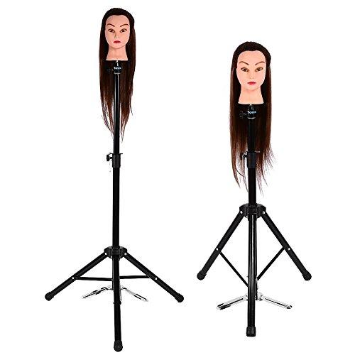 Trípode de entrenamiento de peluquería, Herramienta de soporte de soporte de soporte de cabello de cabeza de abrazadera de maniquí de peluca, negro