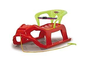 Jamara- 460366-Snow Play Respaldo Snow-Star 90 cm Protección contra vuelcos, Ligero Trineo, Color Rojo (460366)