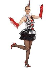 Robe de costume d'Arlequin pour dame robe de tulle avec petit chapeau rouge blanc noir