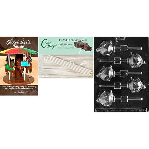 cybrtrayd 45st50bk-e133'anatra con cappello Lolly' Pasqua Cioccolato Candy stampo con 50–Bastoncini per lecca lecca e cioccolatini della guida - Cappello Chocolate Mold