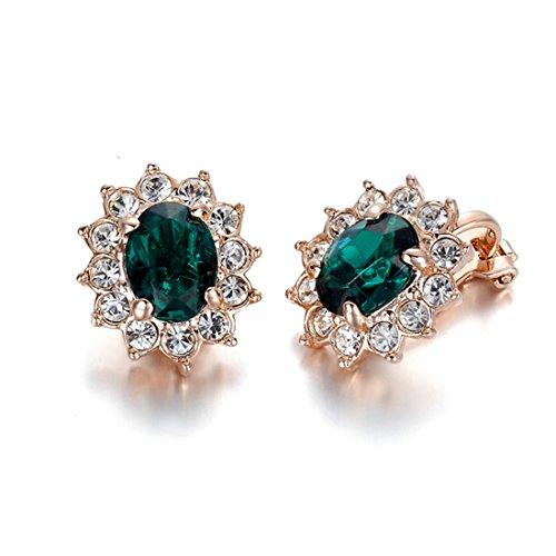 hktc imitación gema vintage joyería 18K bañado en oro rosa verde esmeralda Crystal Sun Flower Clip-on Pendientes