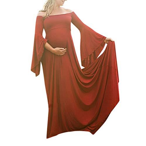 ere Stillkleid Vintage Maxikleid Elegant Fotografie Requisiten Schulterfrei Maternity Schwangerschaftskleid Einfarbig Kleid Langarm Umstandskleid Maternity Kleid ()