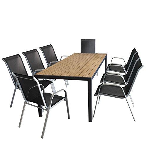 Multistore 2002 9tlg. Sitzgarnitur Gartentisch, Aluminiumrahmen, Polywood Tischplatte braun, 205x90cm +8x Stapelstuhl silber, Textilenbespannung schwarz/Gartengarnitur Sitzgruppe