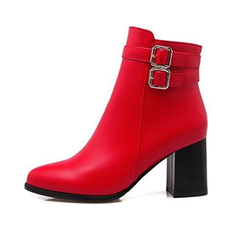 Tacco Cuoio Rosso Donna Con Solido Stivali Destro Zip Colore Sottolineato Voguezone009 fzpwOHqF
