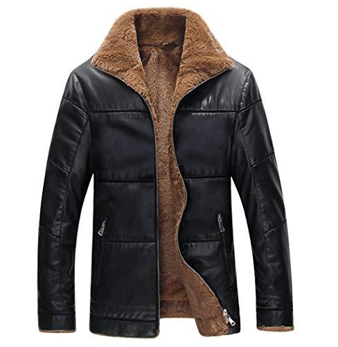 GKKXUE Herren Winter Lederjacke Plus Dünger XL Dickes Mantelhemd für Männer mittleren Alters (Farbe : SCHWARZ, größe : XL) Alter Sweatshirt