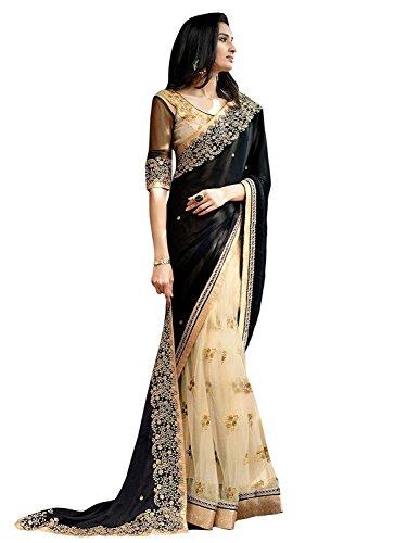 Kjp Villa Women\'s Net & Georgette Black Free Size embroidery Saree With Blouse Pics (zeel saree-281)