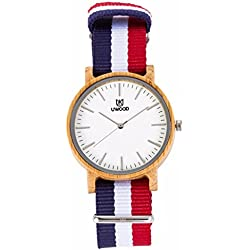 Uwood Men Original Bamboo Wood Watch Nylon Band Fashion Wooden Watch with Blue White Red Striped Band