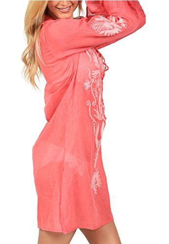 Ingear Embroidered Beach Cover Up Coral/White