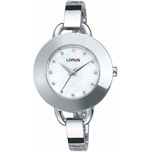 Lorus White Dial Semi Bangle Bracelet Ladies Watch RG243JX9