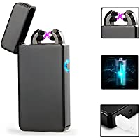 Electric Lighter,USB Lighter Gift Matal Body Double Electronic Arc Cigarette Lighter Outdaoor Windproof No Gas